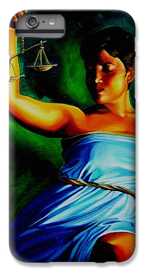 Law Art IPhone 6 Plus Case featuring the painting Lady Justice by Laura Pierre-Louis