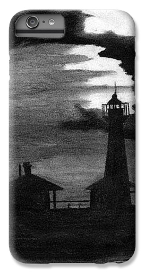 Landscape IPhone 6 Plus Case featuring the drawing Lydia Ann Lighthouse by Adam Johnson