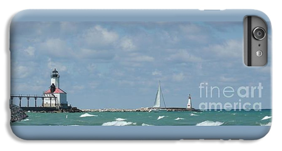 Scenery IPhone 6 Plus Case featuring the photograph Michigan City Beach Lighthouse by Barb Montanye Meseroll