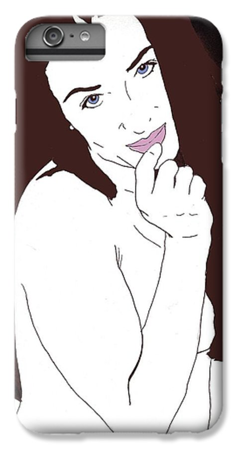 Nude Portrait IPhone 6 Plus Case featuring the drawing Mischevious by Stephen Panoushek