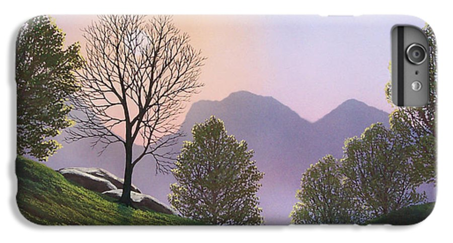 Landscape IPhone 6 Plus Case featuring the painting Misty Spring Meadow by Frank Wilson