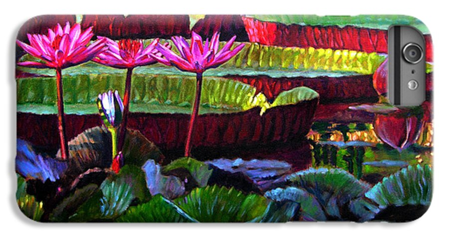 Water Lilies IPhone 6 Plus Case featuring the painting Patterns Of Color And Light by John Lautermilch