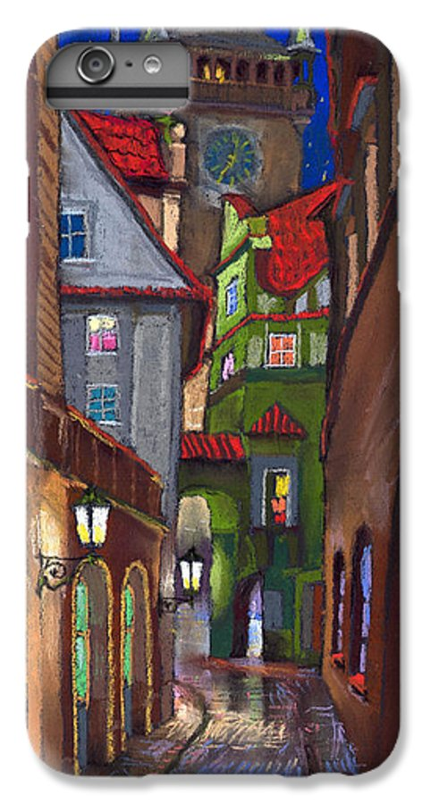 Pastel IPhone 6 Plus Case featuring the painting Prague Old Street by Yuriy Shevchuk