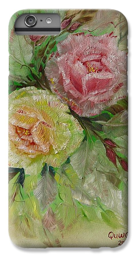 Roses IPhone 6 Plus Case featuring the painting Roses by Quwatha Valentine
