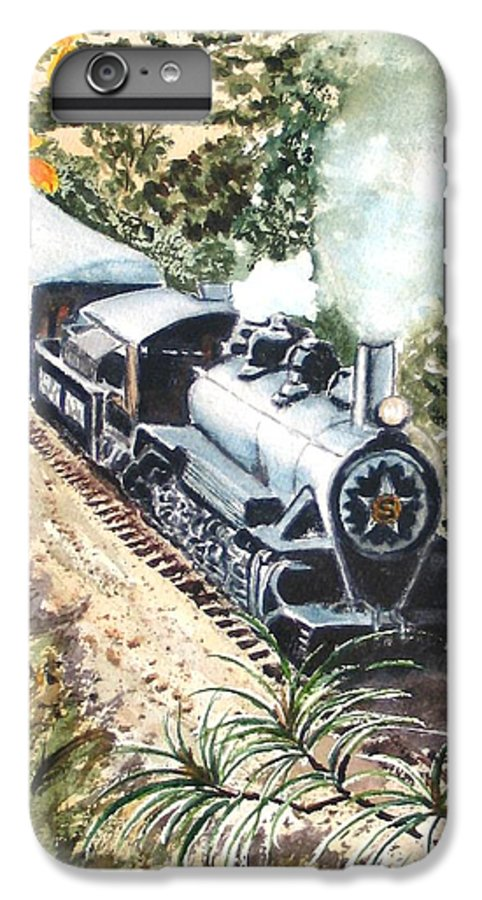 Trains IPhone 6 Plus Case featuring the painting Round The Bend by Karen Ilari