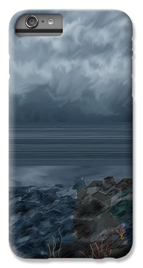 Seascape IPhone 6 Plus Case featuring the painting Slack Tide On The Jetty by Anne Norskog