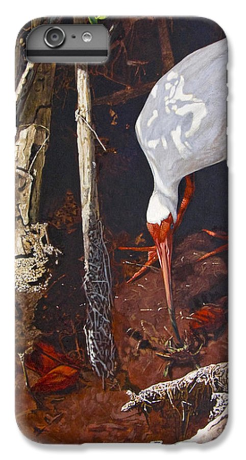 Waterfowl IPhone 6 Plus Case featuring the painting Sparring For Lunch by Peter Muzyka