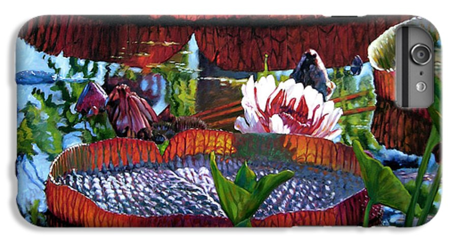 Water Lilies IPhone 6 Plus Case featuring the painting Sunlight Shining Through by John Lautermilch