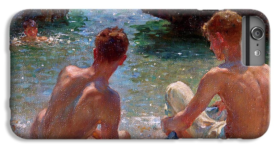 Nude IPhone 6 Plus Case featuring the painting The Critics by Henry Scott Tuke