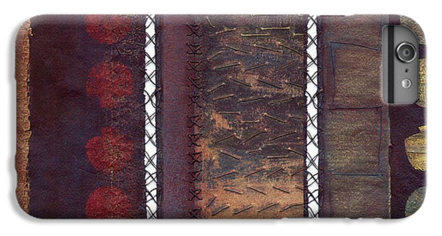 3panel IPhone 6 Plus Case featuring the painting Three Panel Transitional Page Format by Kerryn Madsen- Pietsch