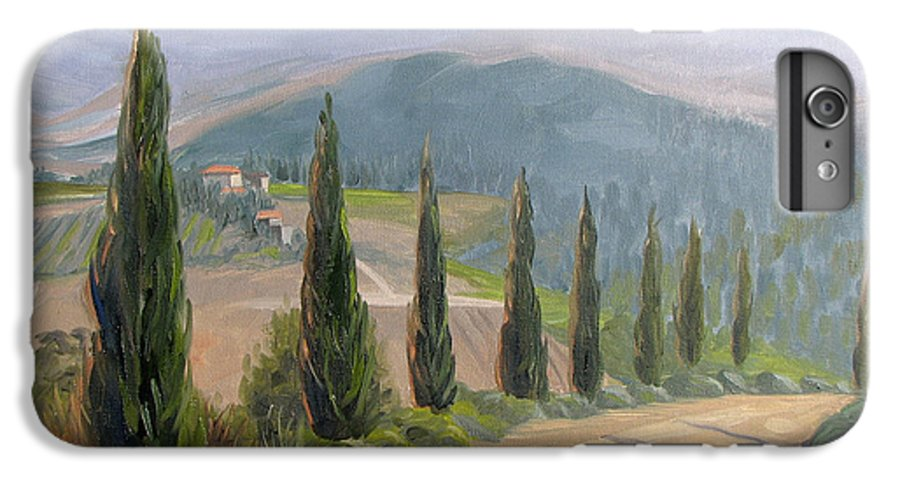 Landscape IPhone 6 Plus Case featuring the painting Tuscany Road by Jay Johnson