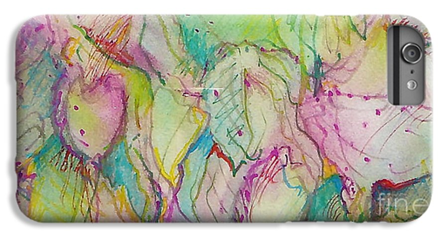 Abstract IPhone 6 Plus Case featuring the painting Two Lips by Jan Bennicoff