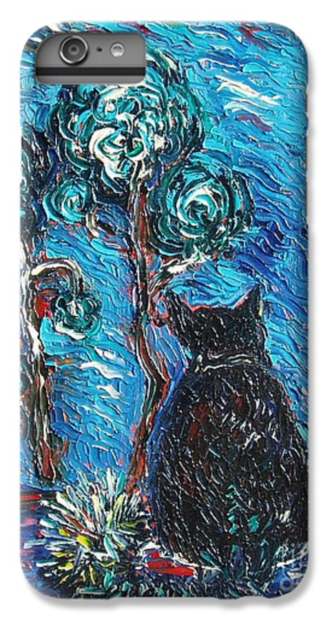 Cat Paintings IPhone 6 Plus Case featuring the painting A Black Cat by Seon-Jeong Kim