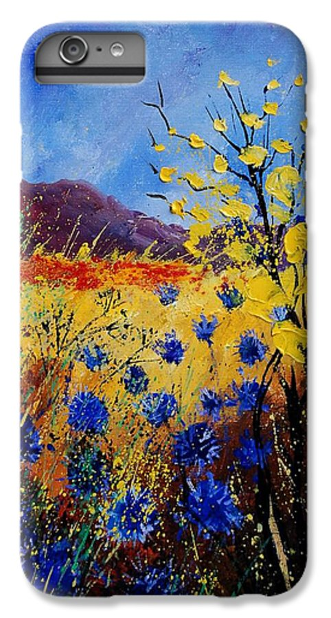 Poppies Flowers Floral IPhone 6 Plus Case featuring the painting Blue Cornflowers by Pol Ledent