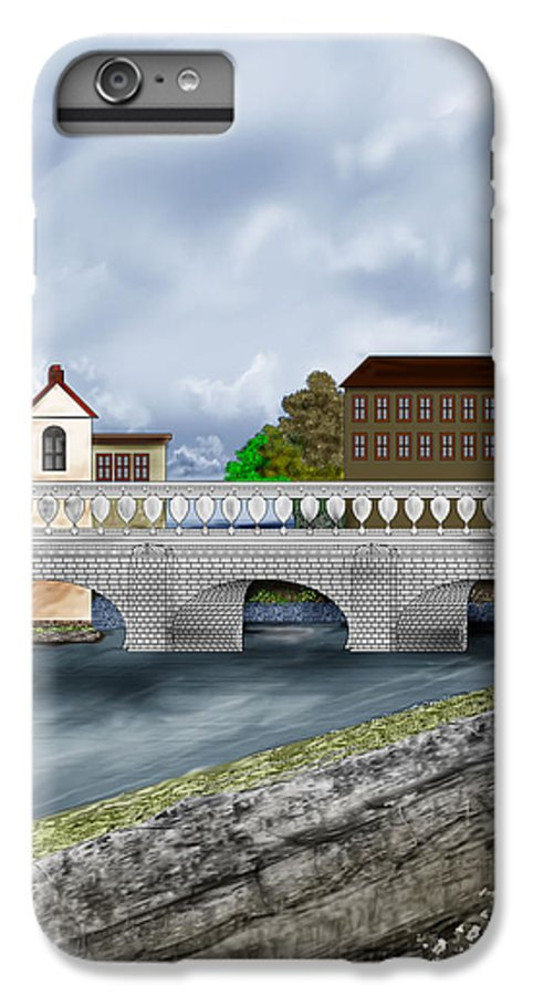 Galway Ireland Bridge IPhone 6 Plus Case featuring the painting Bridge In Old Galway Ireland by Anne Norskog