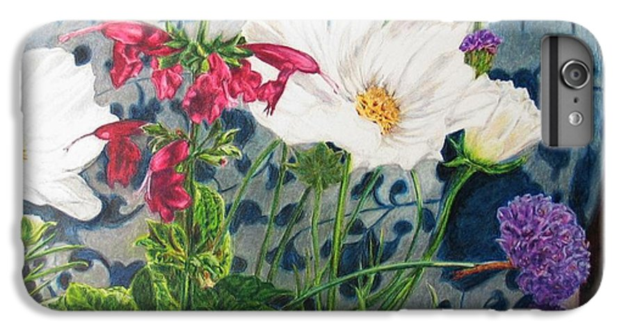 Flowers IPhone 6 Plus Case featuring the painting Cosmos by Karen Ilari