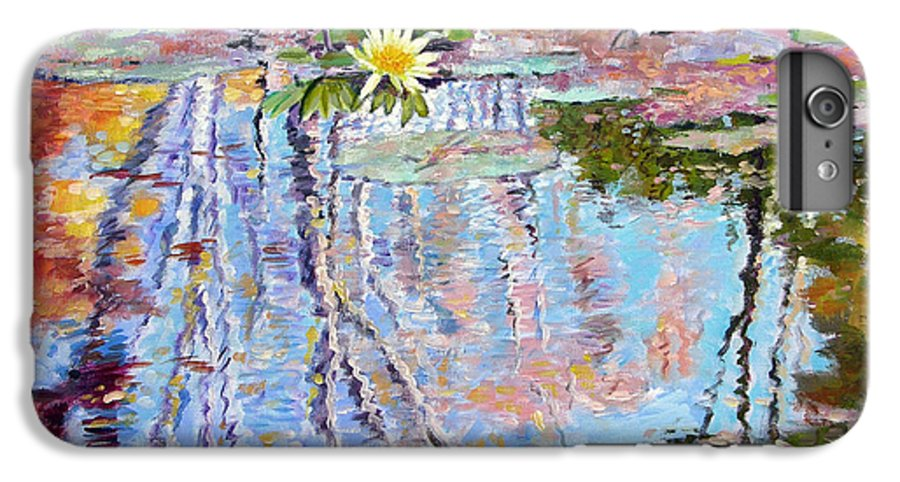 Garden Pond IPhone 6 Plus Case featuring the painting Fall Reflections by John Lautermilch