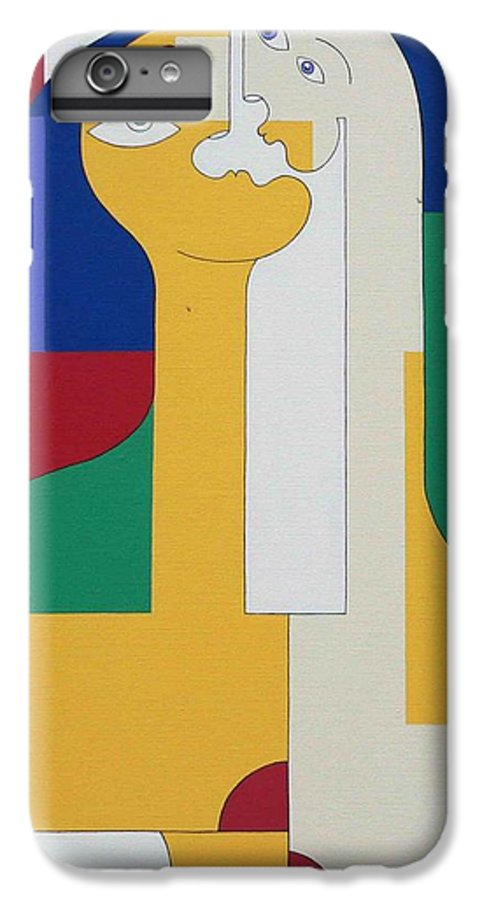 Modern Colors Women Humor IPhone 6 Plus Case featuring the painting 2 In 1 by Hildegarde Handsaeme