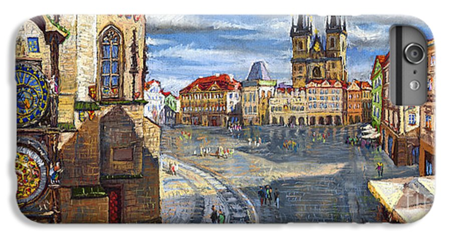 Pastel IPhone 6 Plus Case featuring the painting Prague Old Town Squere by Yuriy Shevchuk