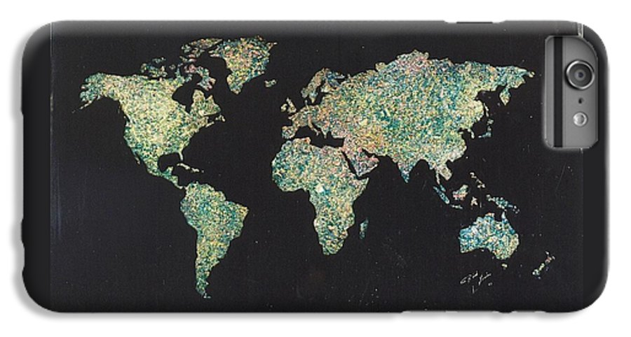 World Maps IPhone 6 Plus Case featuring the painting Shattered World by Rick Silas