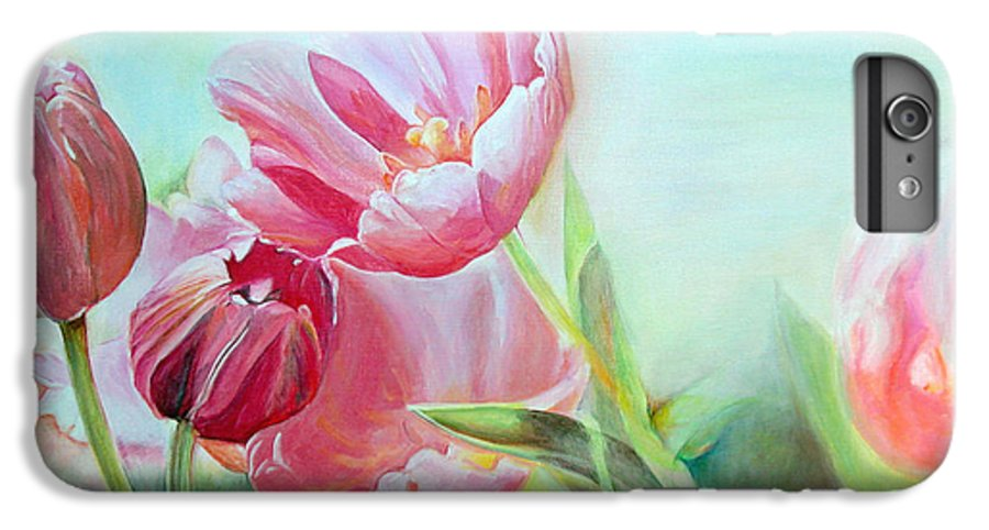 Floral Painting IPhone 6 Plus Case featuring the painting Tulipes by Muriel Dolemieux