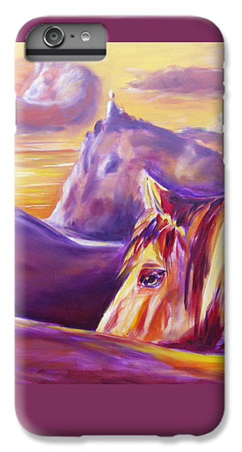 Horses IPhone 6 Plus Case featuring the painting Horse World by Gina De Gorna