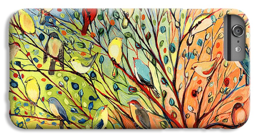 Bird IPhone 6 Plus Case featuring the painting 27 Birds by Jennifer Lommers