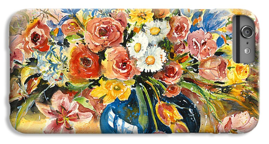 Still Life IPhone 6 Plus Case featuring the painting Blue Vase by Alexandra Maria Ethlyn Cheshire