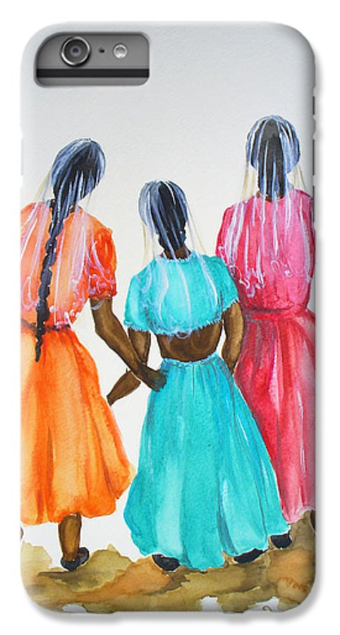 Three Ladies East Indian IPhone 6 Plus Case featuring the painting 3bff by Karin Dawn Kelshall- Best