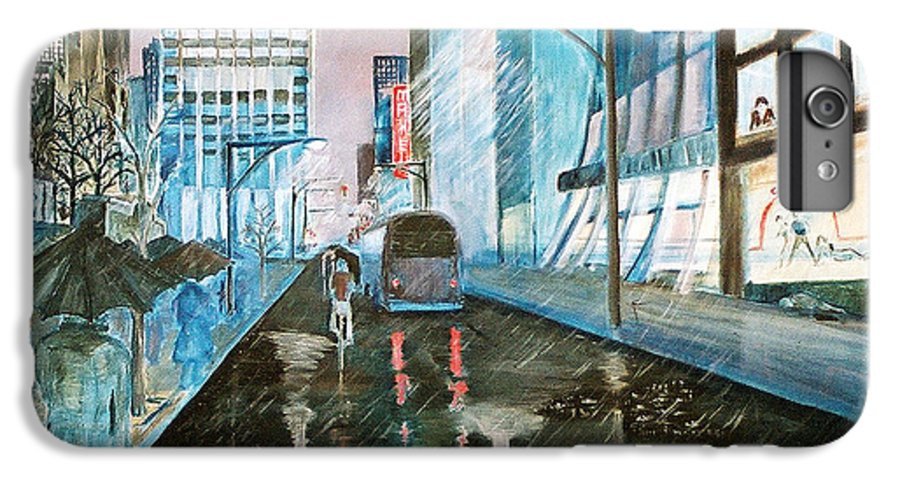 Street Scape IPhone 6 Plus Case featuring the painting 42nd Street Blue by Steve Karol