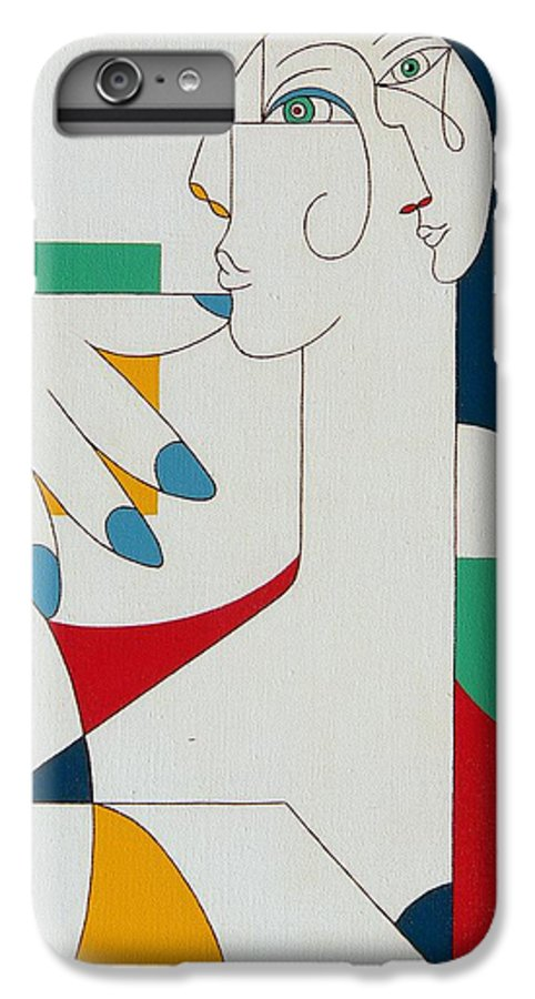 Portrait IPhone 6 Plus Case featuring the painting 5 Fingers by Hildegarde Handsaeme