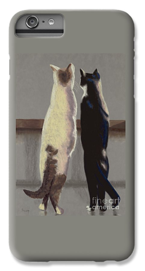 Cat IPhone 6 Plus Case featuring the painting A Bird by Linda Hiller
