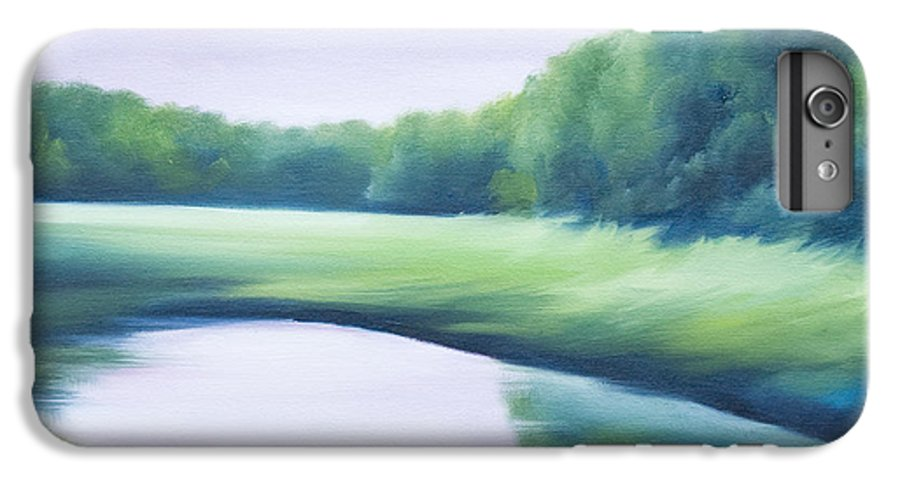 Nature; Lake; Sunset; Sunrise; Serene; Forest; Trees; Water; Ripples; Clearing; Lagoon; James Christopher Hill; Jameshillgallery.com; Foliage; Sky; Realism; Oils; Green; Tree; Blue; Pink; Pond; Lake IPhone 6 Plus Case featuring the painting A Day In The Life 1 by James Christopher Hill
