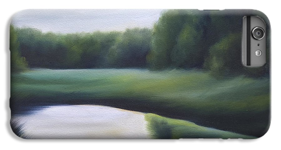 Nature; Lake; Sunset; Sunrise; Serene; Forest; Trees; Water; Ripples; Clearing; Lagoon; James Christopher Hill; Jameshillgallery.com; Foliage; Sky; Realism; Oils; Green; Tree IPhone 6 Plus Case featuring the painting A Day In The Life 3 by James Christopher Hill