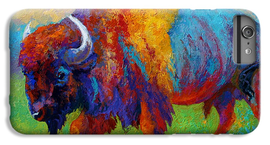 Wildlife IPhone 6 Plus Case featuring the painting A Journey Still Unknown - Bison by Marion Rose
