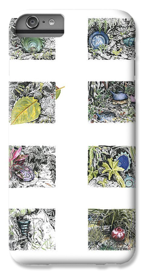 Tropical IPhone 6 Plus Case featuring the drawing A Potters Garden by Kerryn Madsen-Pietsch