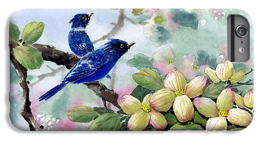 Blue Jays IPhone 6 Plus Case featuring the painting A Touch Of Pink On White by Eileen Fong