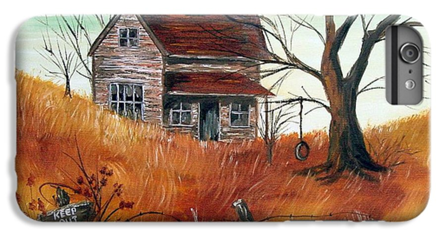 Landscape IPhone 6 Plus Case featuring the painting Abandoned Farmhouse by Quwatha Valentine