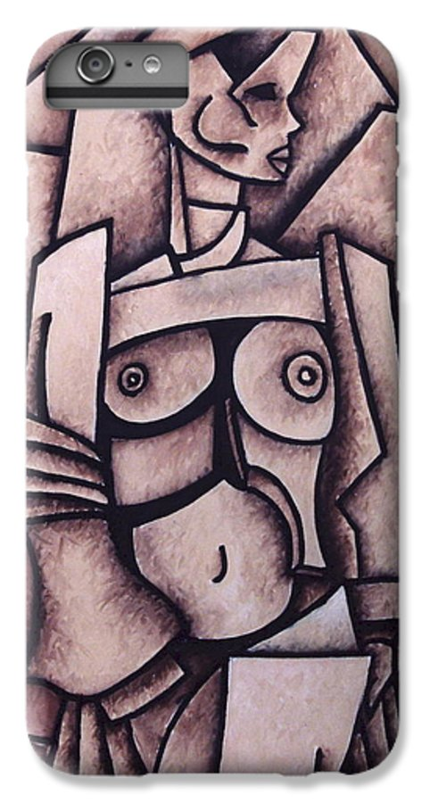Absract IPhone 6 Plus Case featuring the painting Absract Girl by Thomas Valentine