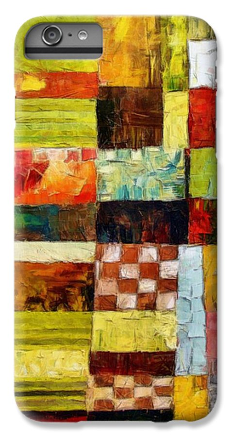 Patchwork IPhone 6 Plus Case featuring the painting Abstract Color Study With Checkerboard And Stripes by Michelle Calkins