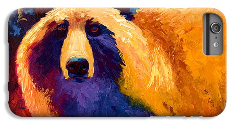 Western IPhone 6 Plus Case featuring the painting Abstract Grizz II by Marion Rose