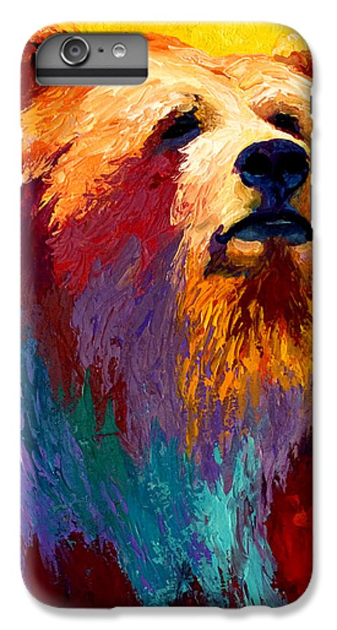 Western IPhone 6 Plus Case featuring the painting Abstract Grizz by Marion Rose