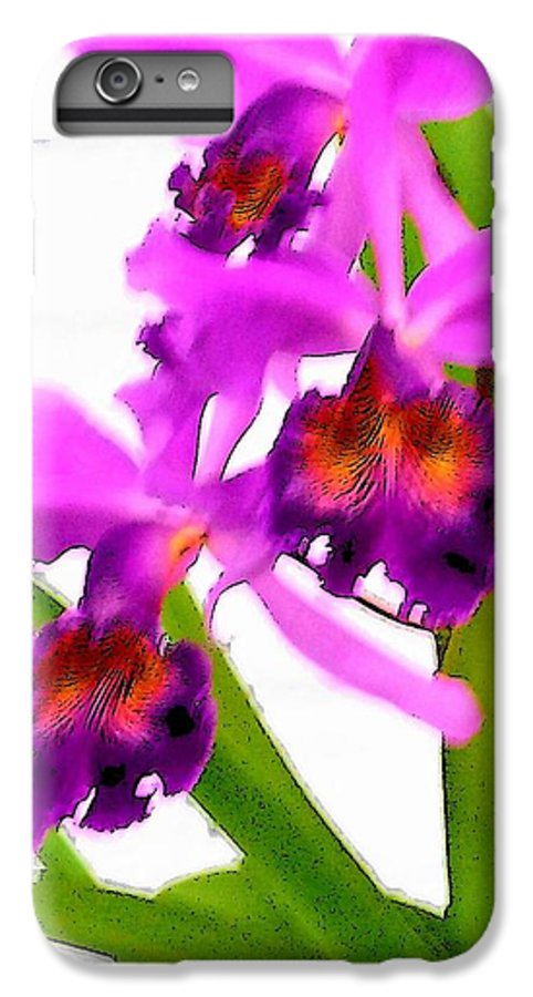 Flowers IPhone 6 Plus Case featuring the digital art Abstract Iris by Anita Burgermeister