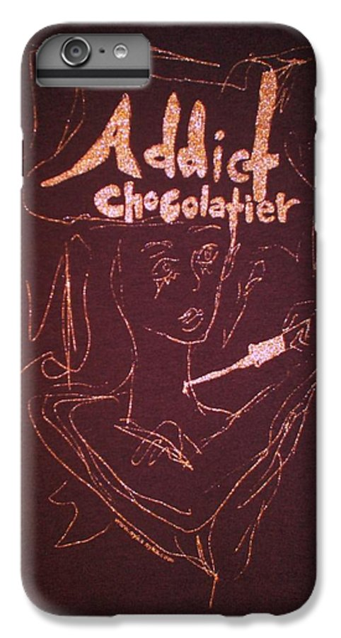 Dark Chocolate IPhone 6 Plus Case featuring the drawing Addict Chocolatier by Ayka Yasis