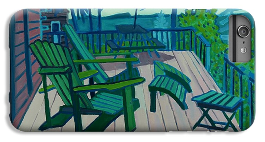 Ocean IPhone 6 Plus Case featuring the painting Adirondack Chairs Maine by Debra Bretton Robinson