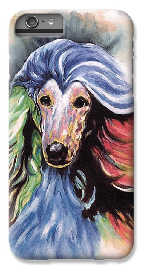 Afghan Hound IPhone 6 Plus Case featuring the painting Afghan Storm by Kathleen Sepulveda