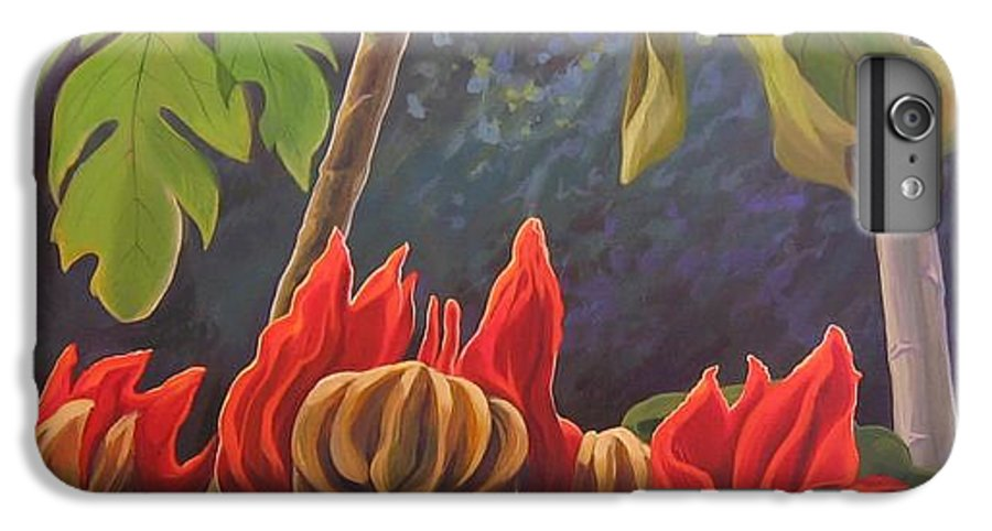 African Tulip IPhone 6 Plus Case featuring the painting African Tulip by Hunter Jay
