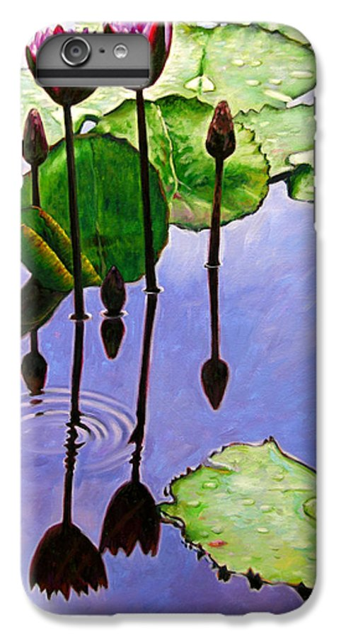 Rose Colored Water Lilies After A Morning Shower With Dark Reflections And Water Ripple. IPhone 6 Plus Case featuring the painting After The Shower by John Lautermilch