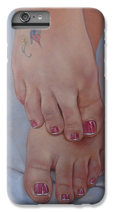 Pretty Feet IPhone 6 Plus Case featuring the painting Aimee by Jerrold Carton