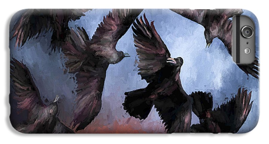 Fine Art IPhone 6 Plus Case featuring the painting Airborne Unkindness by David Wagner